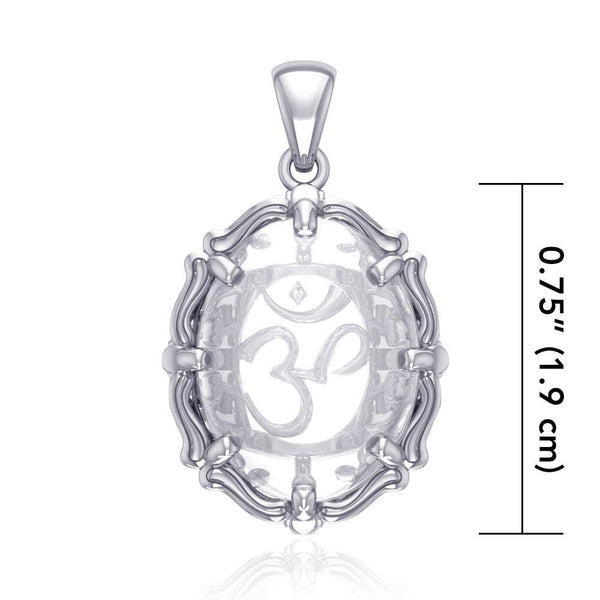 Om Sterling Silver Pendant with Clear Quartz TPD5111