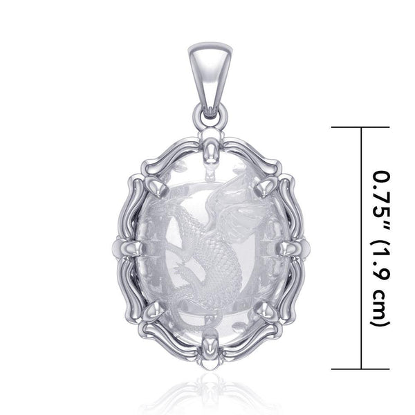 Beyond the Dragon fierce presence Sterling Silver Pendant with Clear Quartz TPD5122