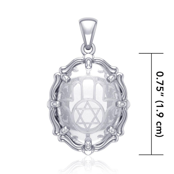 Hamsa Hand and Star of David Sterling Silver Pendant with Clear Quartz TPD5128