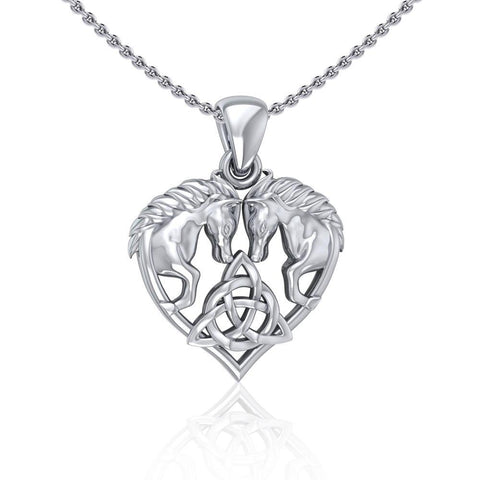 Silver Horses with Celtic Triquetra in Heart Pendant TPD5214