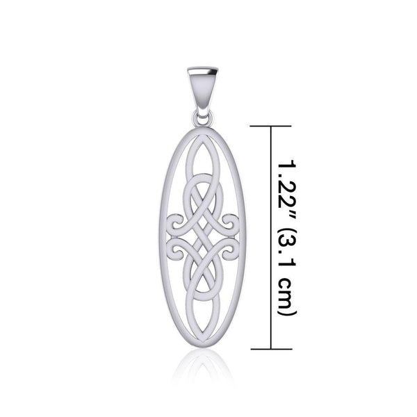 Celtic Woven Design in Oval Shape Silver Pendant TPD5233