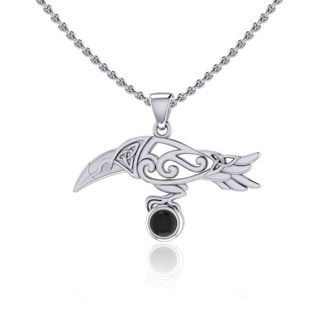 Celtic Spirit Raven with Gemstone Silver Pendant TPD5252