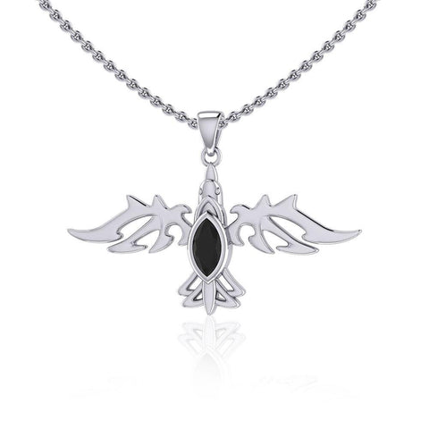 Modern Raven with Gemstone Silver Jewelry Pendant TPD5253