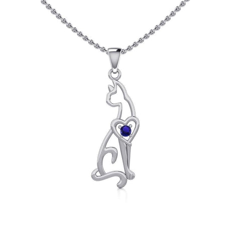 Lovely Heart Cat Silver Pendant with Gem TPD5273