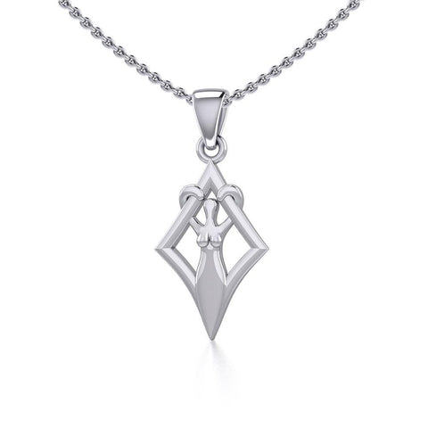 Goddess in Diamond Frame Silver Pendant TPD5278