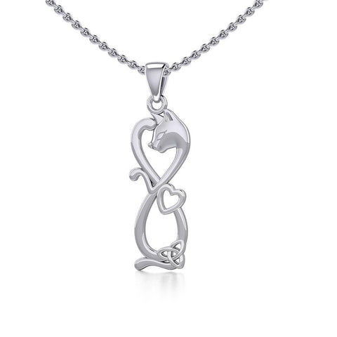 Infinity Cat with Heart and Celtic Trinity Knot Silver Pendant TPD5279
