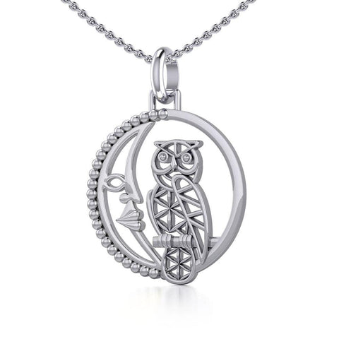 Silver Flower of Life Owl on The Crescent Moon Pendant TPD5301