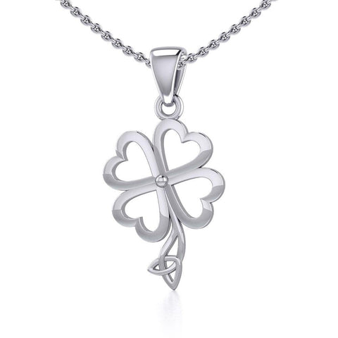 Four Leaf Clover with Trinity Knot Silver Pendant TPD5357