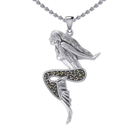 The Goddess Mermaid Silver Pendant with Marcasite TPD5369