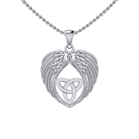 Feel the Tranquil in Angels Wings Silver Pendant with Trinity Knot TPD5456