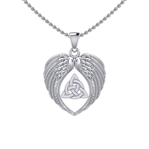 Feel the Tranquil in Angels Wings Silver Pendant with Triquetra TPD5457