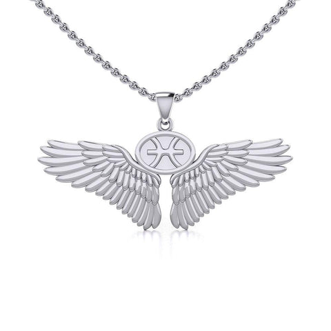 Guardian Angel Wings Silver Pendant with Pisces Zodiac Sign TPD5514