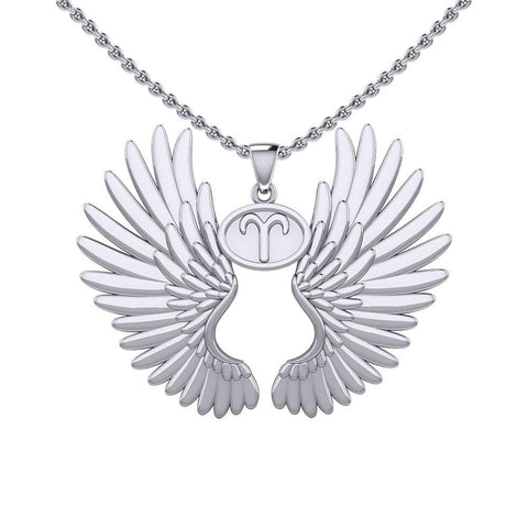 Guardian Angel Wings Silver Pendant with Aries Zodiac Sign TPD5515