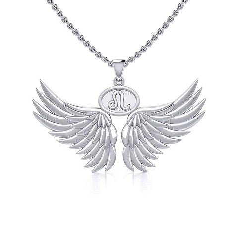 Guardian Angel Wings Silver Pendant with Leo Zodiac Sign TPD5519