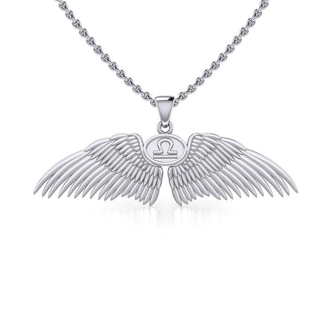 Guardian Angel Wings Silver Pendant with Libra Zodiac Sign TPD5521