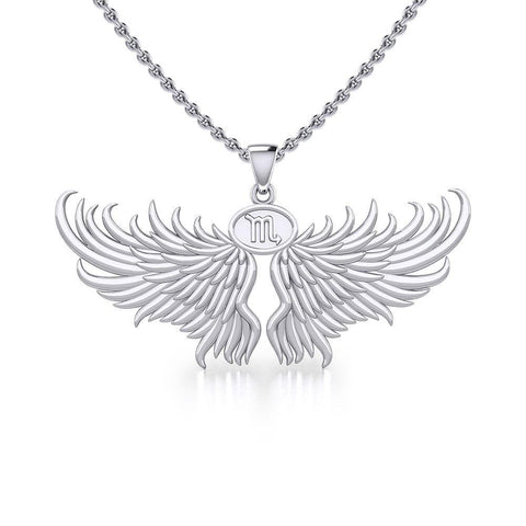 Guardian Angel Wings Silver Pendant with Scorpio Zodiac Sign TPD5522
