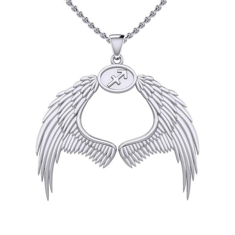 Guardian Angel Wings Silver Pendant with Sagittarius Zodiac Sign TPD5523