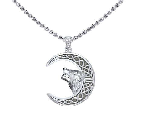 Wolf Head with Celtic Crescent Moon Silver Pendant TPD5552