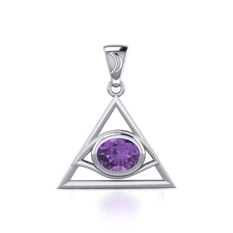 Eye of The Pyramid Silver Pendant with Gem TPD5610