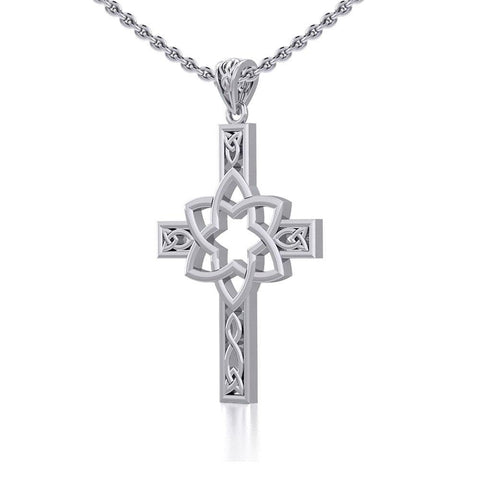 Mandala on Celtic Cross Silver Pendant TPD5665