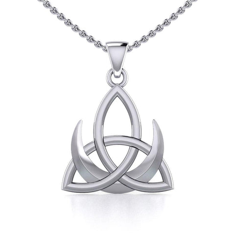 Crescent Moon with Celtic Trinity Silver Pendant TPD5667