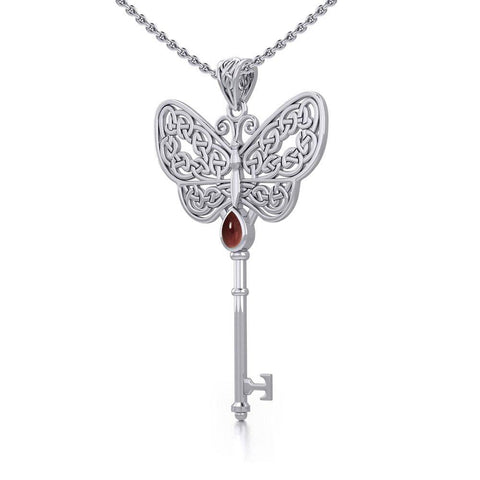 Celtic Butterfly Spiritual Enchantment Key Silver Pendant with Gem TPD5686