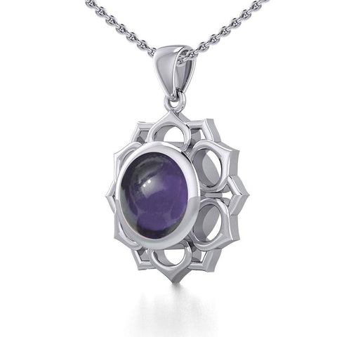 Chakra Silver Pendant with Large Stone TPD5687