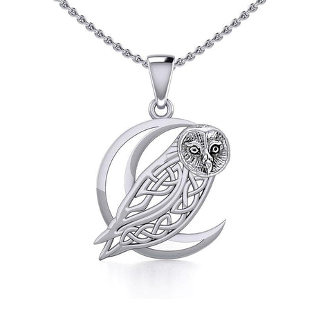 Celtic Owl on Crescent Moon Silver Pendant TPD5714