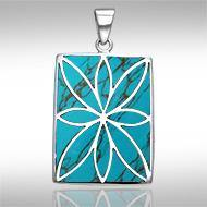 Flower Flat Cabochon Rectangle Pendant TPD593TQ