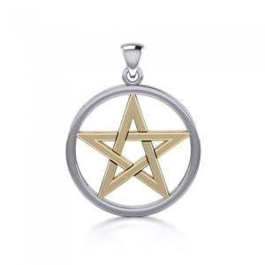 Gold Accent Silver Pentacle TPV089