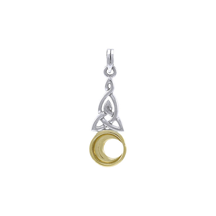 Celtic Knot Gold Accent Moon Silver Pendant TPV1358