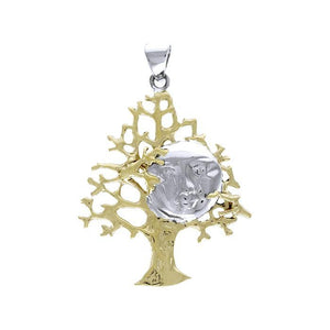 Full Moon in Tree Gold Accent Silver Pendant TPV3227