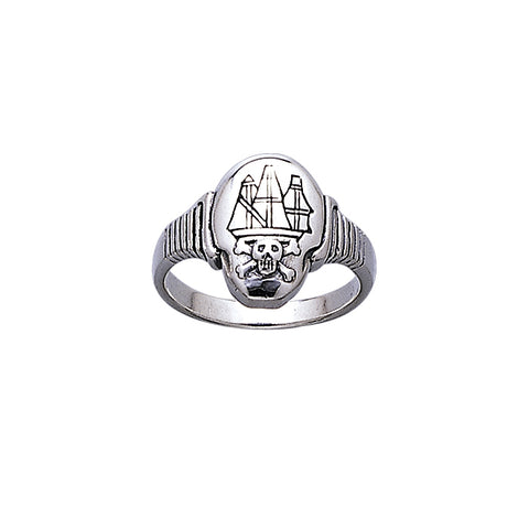 Jolly Roger Ship Silver Ring TR3662