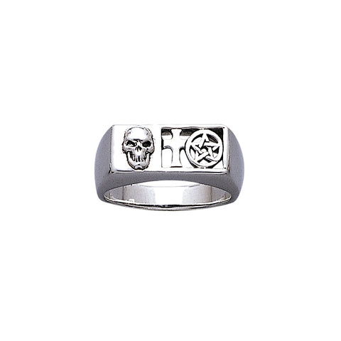 Pirate Skull and Pentacle Ring TR3671