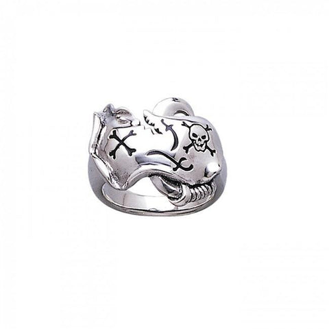 Skull and Map Silver Ring TR3678