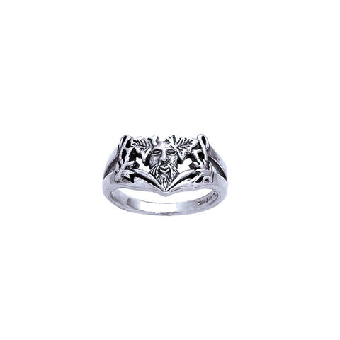 Green Man Silver Ring TR3696