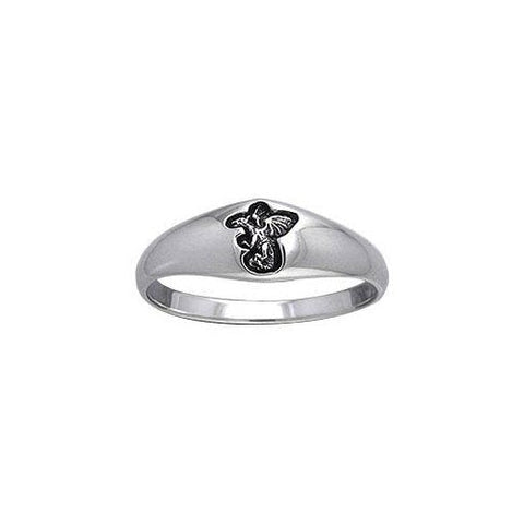 Engraved Dragon Silver Ring TRI073