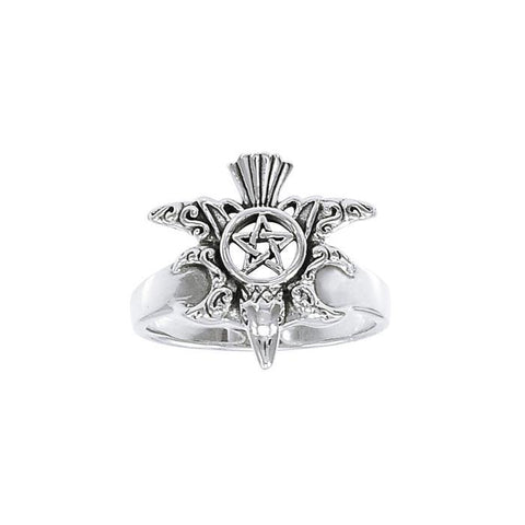 Raven Triple Moon Pentacle Ring TRI1366
