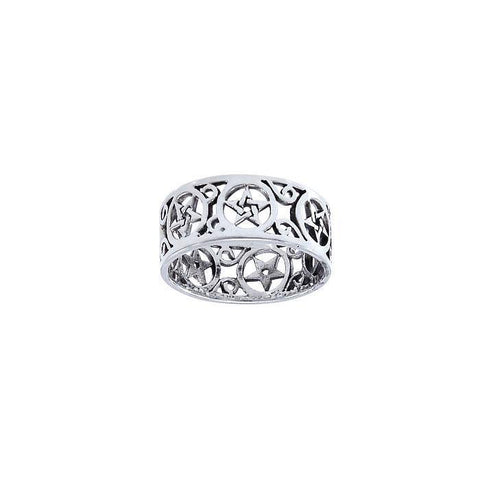 Pentacle Filligree Sterling Silver Ring TRI1564