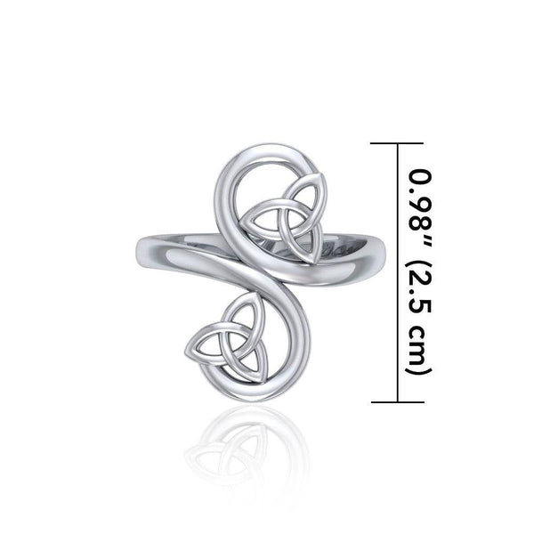 Celtic Trinity Knot Spiral Silver Ring TRI1786