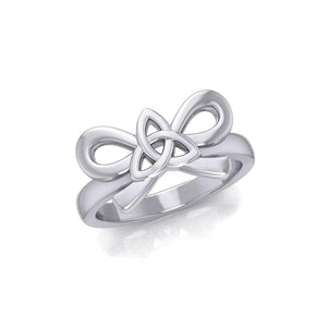 Celtic Trinity Knot on Ribbin Silver Ring TRI1787