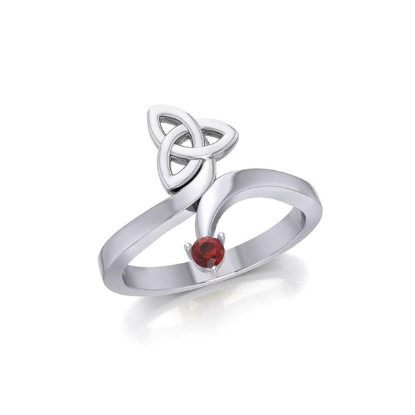 Celtic Trinity Knot with Round Gem Silver Ring TRI1788