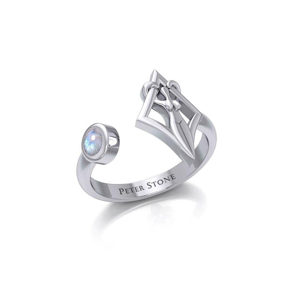 Small Silver Goddess Ring with Gemstone TRI1801