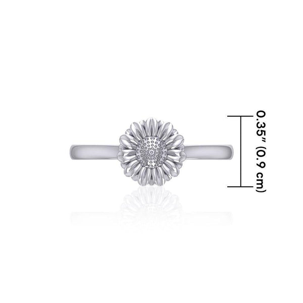 Small Daisy Flower Silver Ring TRI1870