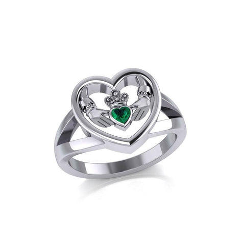 Claddagh in Heart Silver Ring with Gemstone TRI1992