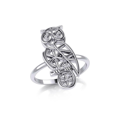Silver Flower of Life Owl Ring TRI2123