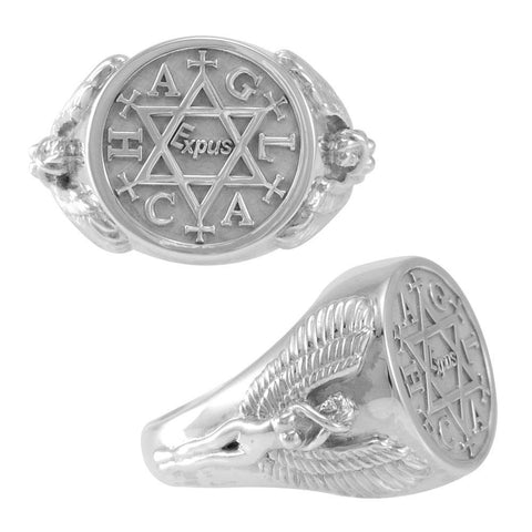 Angel Talisman Occult Large Sterling Silver Ring TRI2153