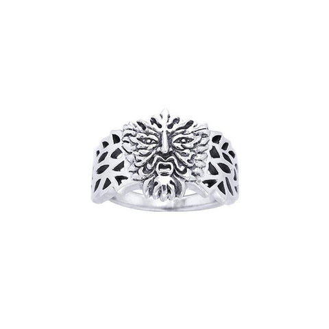 Green Man Silver Ring TRI961