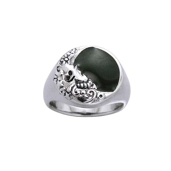 Silver Crescent Moon Ring TRI963