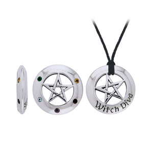 Witch Diva Seven Pointed Star with Gemstones Silver Pendant Set TSE430